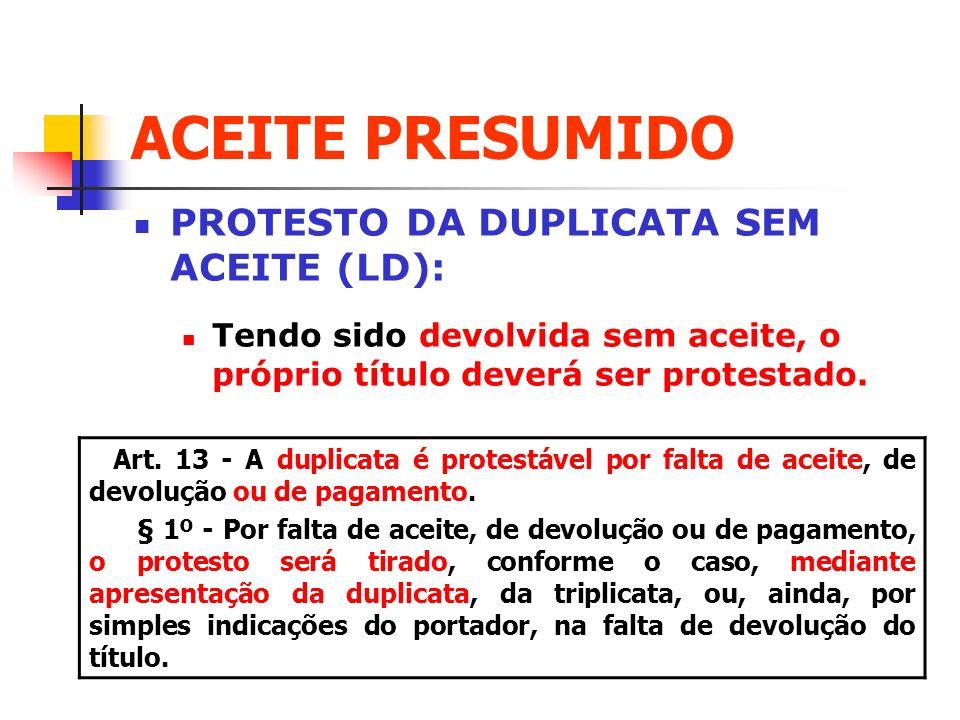 ACEITE PRESUMIDO PROTESTO DA DUPLICATA SEM ACEITE (LD):