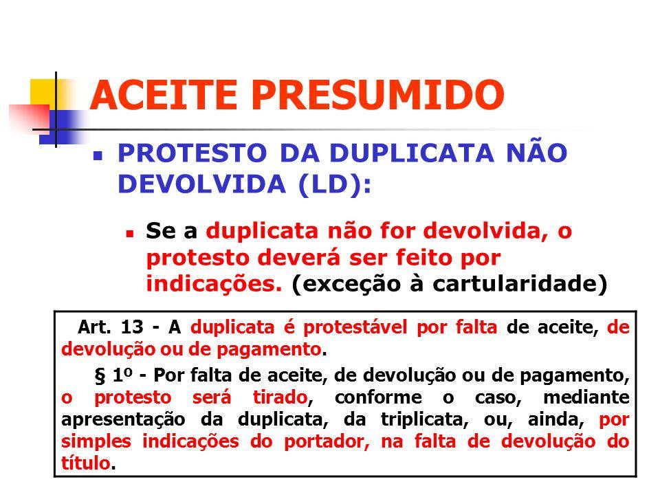 ACEITE PRESUMIDO PROTESTO DA DUPLICATA NÃO DEVOLVIDA (LD):