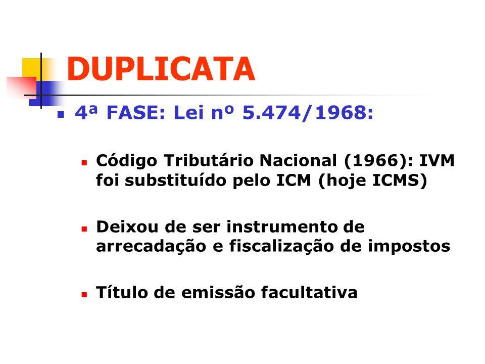 DUPLICATA 4ª FASE: Lei nº 5.474/1968: