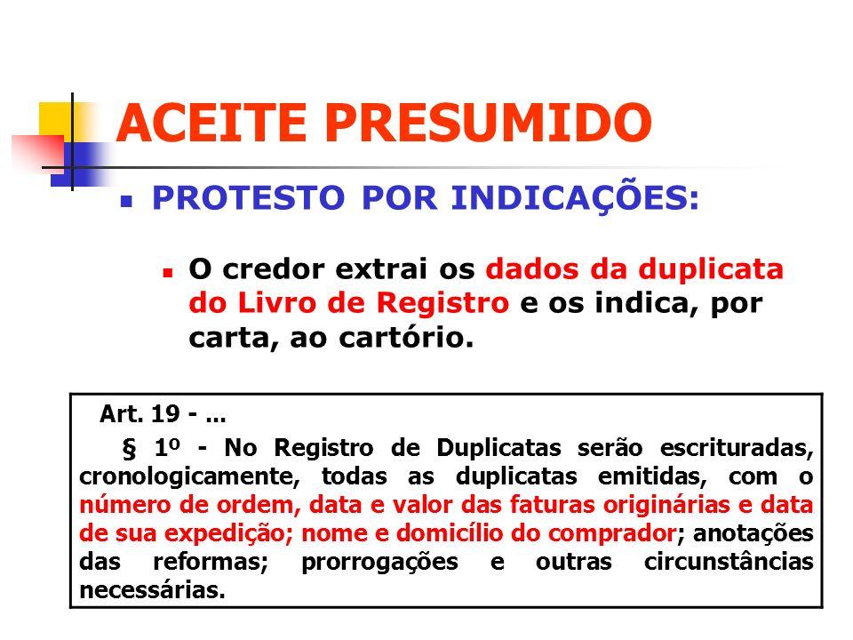 ACEITE PRESUMIDO PROTESTO POR INDICAÇÕES: