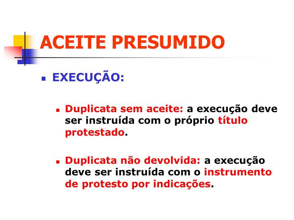 ACEITE PRESUMIDO EXECUÇÃO: