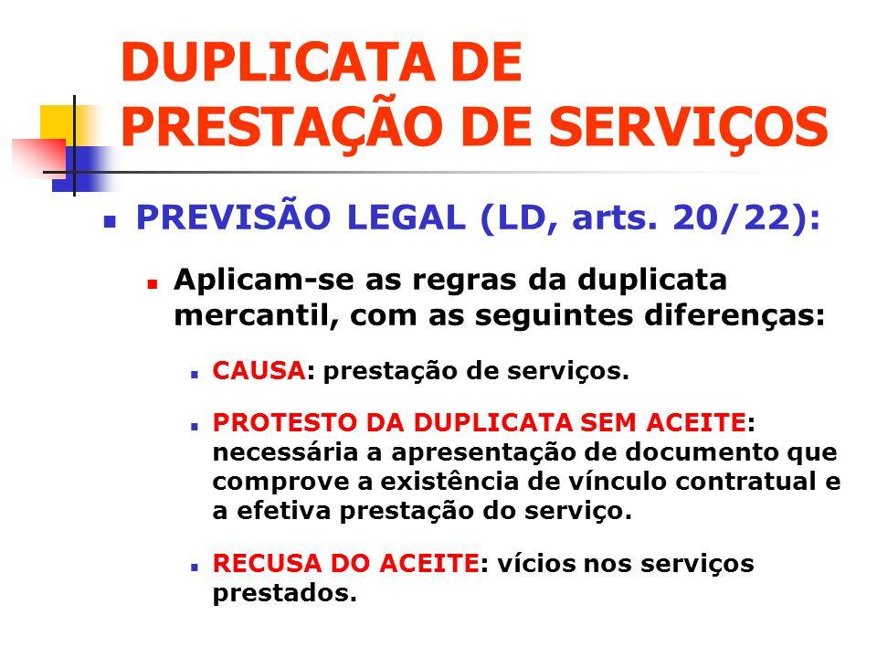 DUPLICATA DE PRESTAÇÃO DE SERVIÇOS