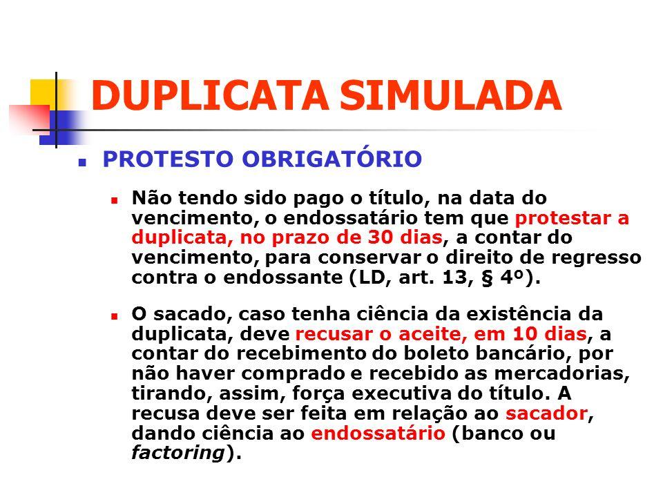 DUPLICATA SIMULADA PROTESTO OBRIGATÓRIO
