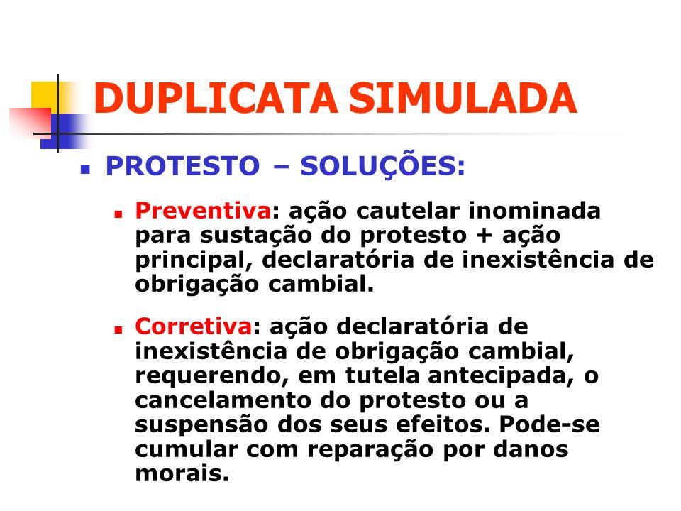DUPLICATA SIMULADA PROTESTO – SOLUÇÕES: