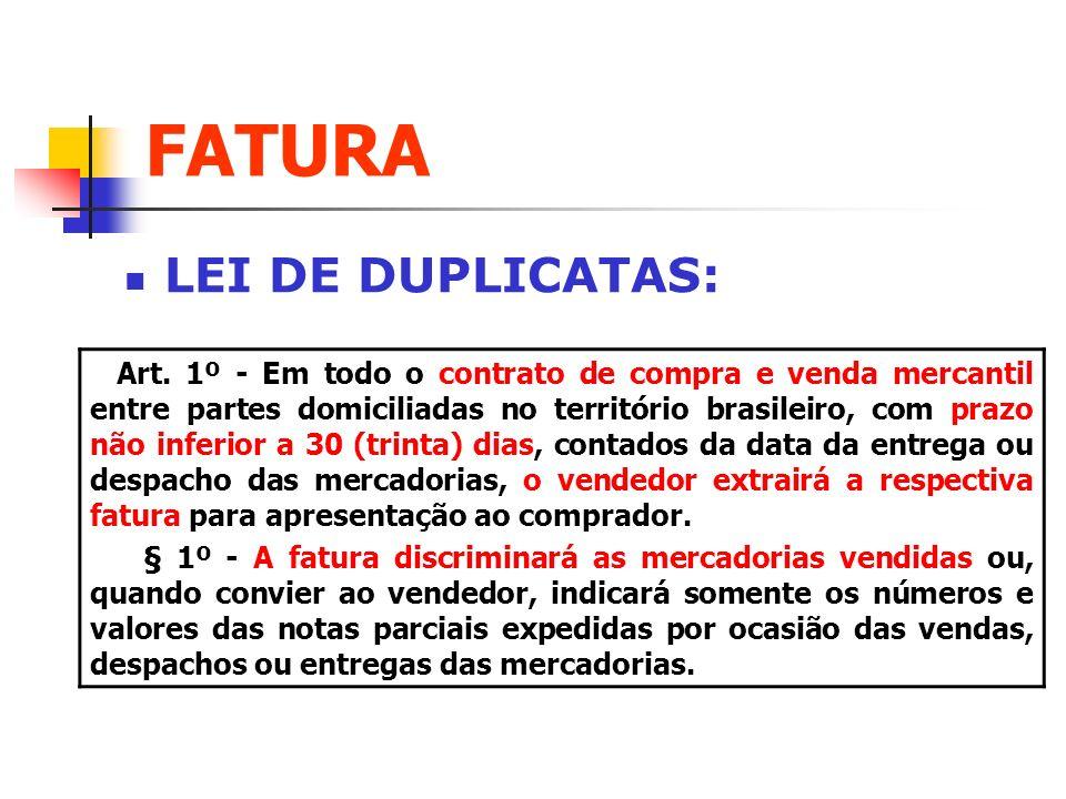 FATURA LEI DE DUPLICATAS: