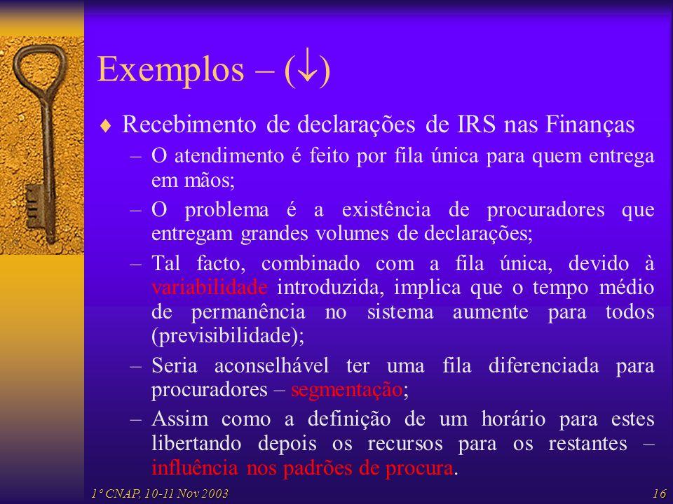 Exemplos – () Recebimento de declarações de IRS nas Finanças