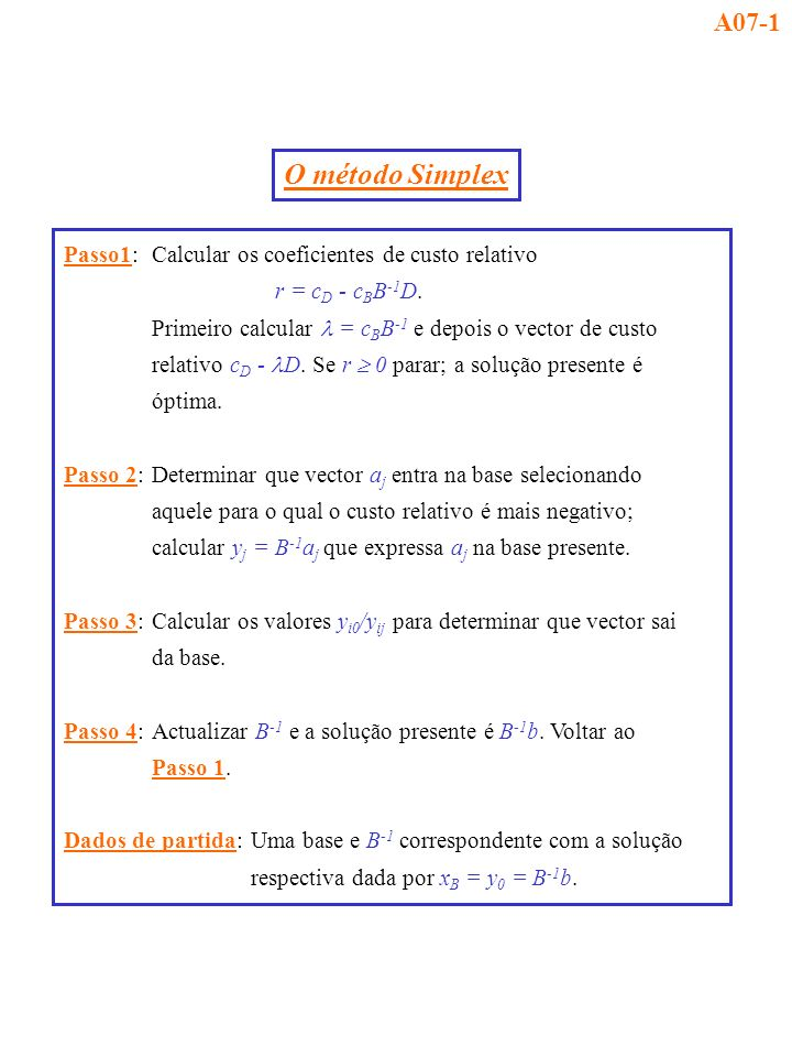 A07-1 O método Simplex. Passo1: Calcular os coeficientes de custo relativo. r = cD - cBB-1D.