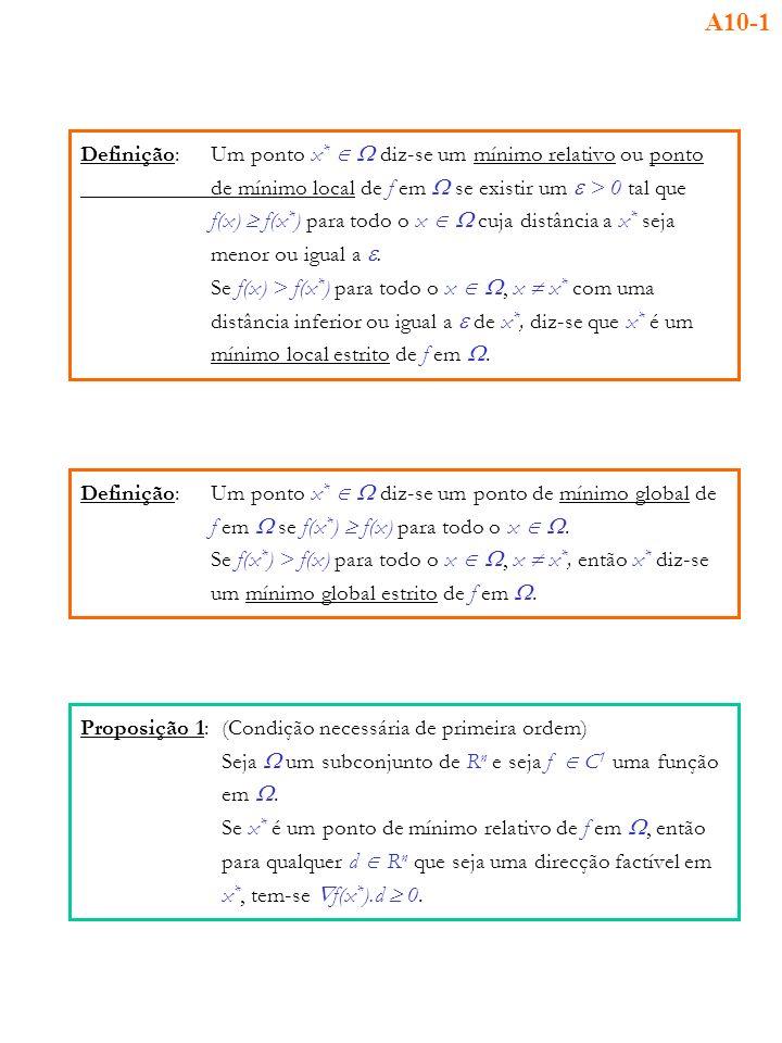 A10-1 Definição: Um ponto x*  W diz-se um mínimo relativo ou ponto