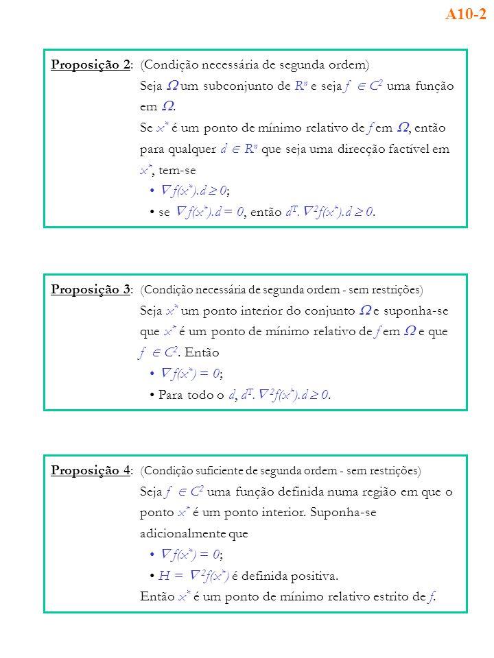 A10-2 Proposição 2: (Condição necessária de segunda ordem)