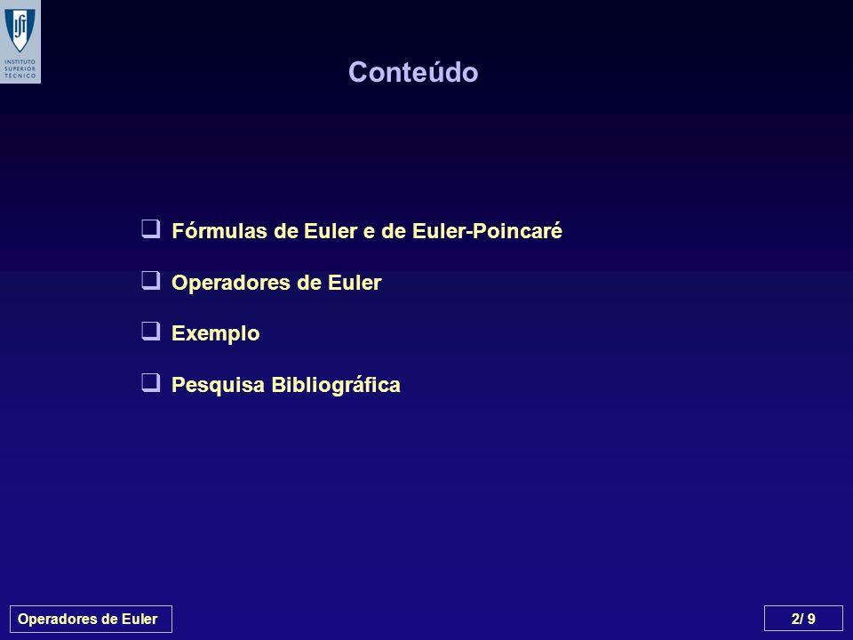 Conteúdo Fórmulas de Euler e de Euler-Poincaré Operadores de Euler