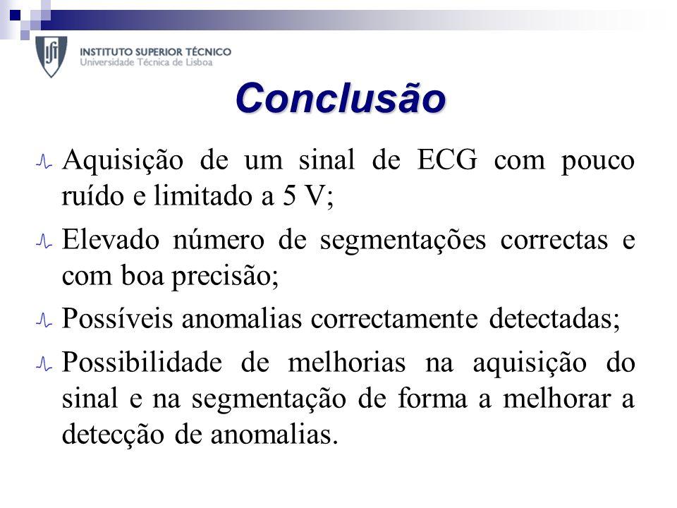 Conclusão Aquisição de um sinal de ECG com pouco ruído e limitado a 5 V; Elevado número de segmentações correctas e com boa precisão;