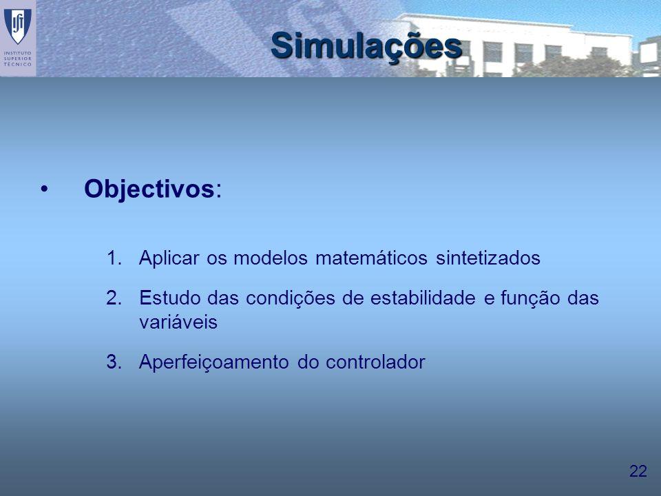 Simulações Objectivos: Aplicar os modelos matemáticos sintetizados