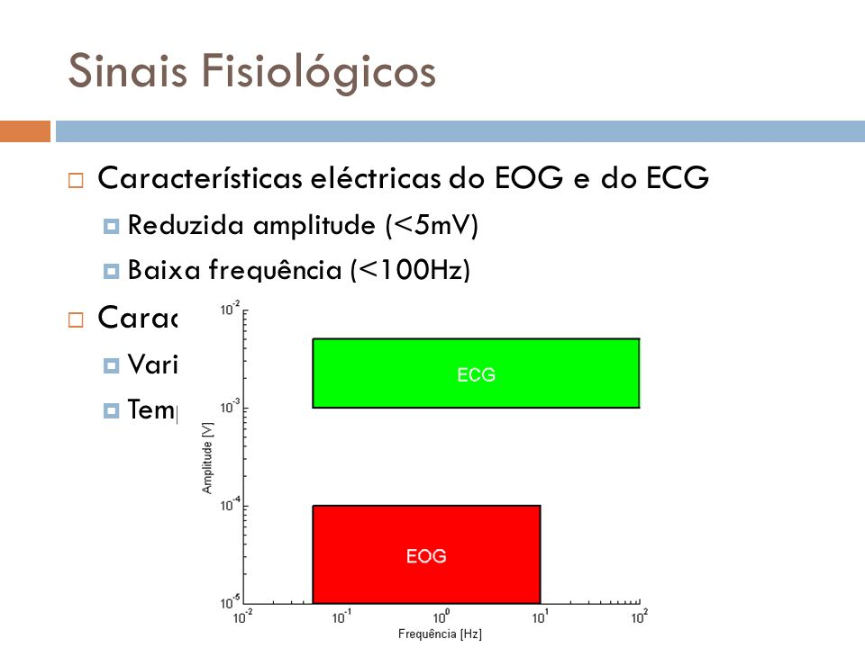 Sinais Fisiológicos Características eléctricas do EOG e do ECG