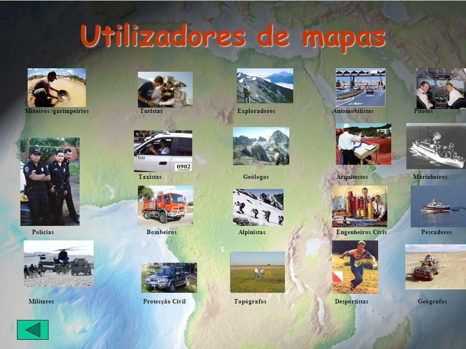 Utilizadores de mapas Mineiros /garimpeirios Turistas Exploradores Automobilistas Pilotos.