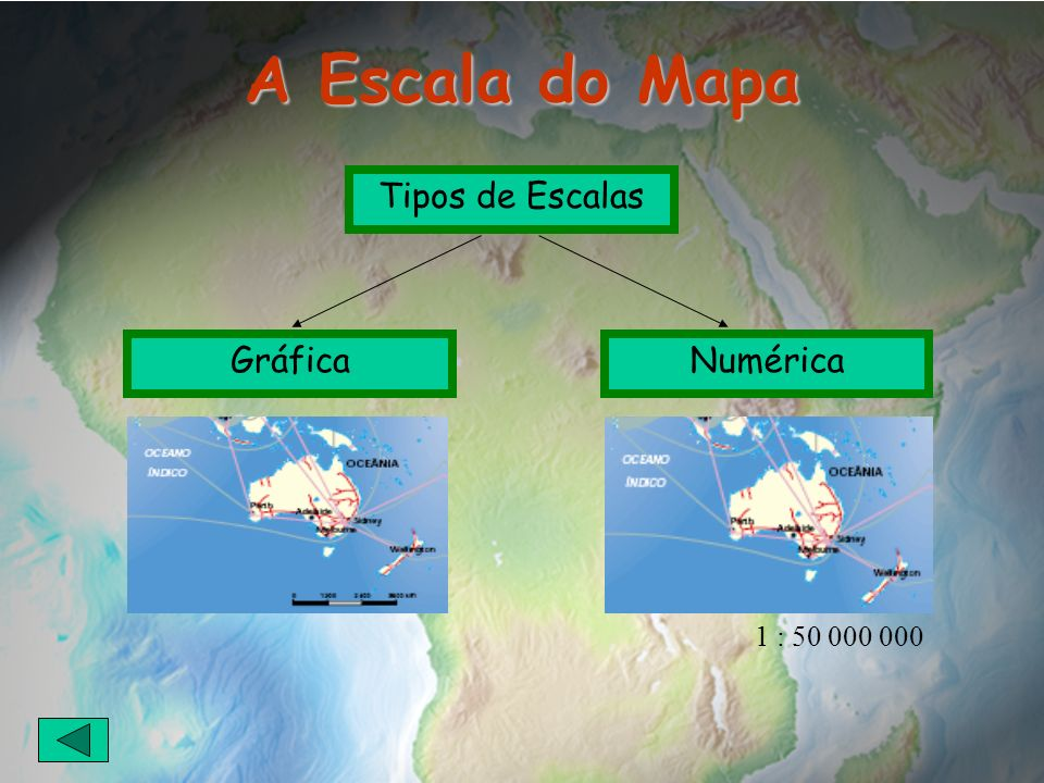 A Escala do Mapa Tipos de Escalas Gráfica Numérica 1 : 50 000 000