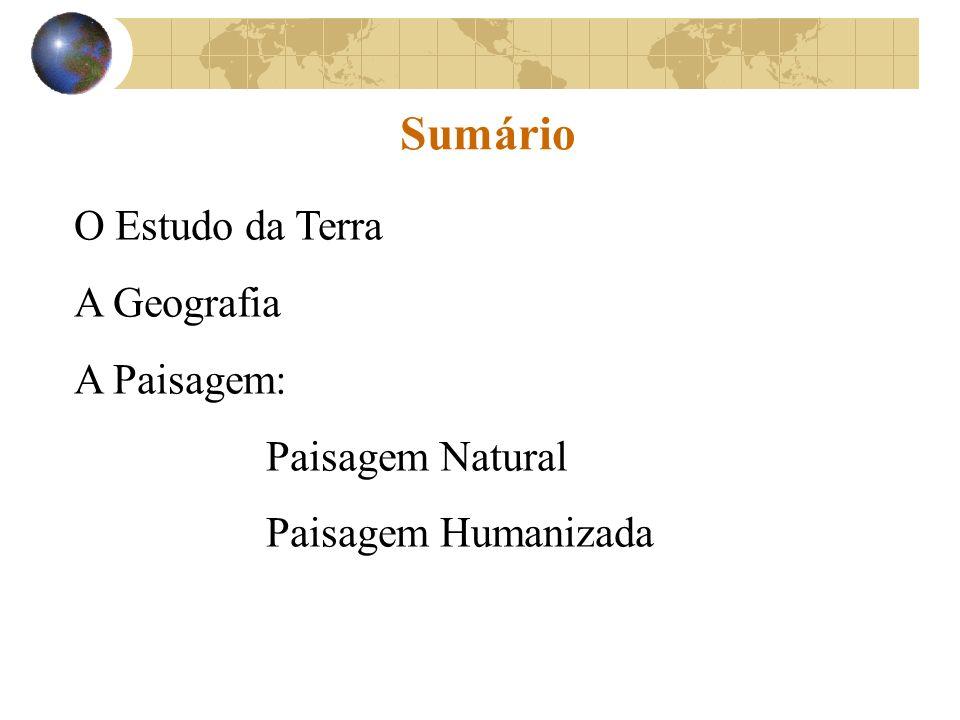 Sumário O Estudo da Terra A Geografia A Paisagem: Paisagem Natural