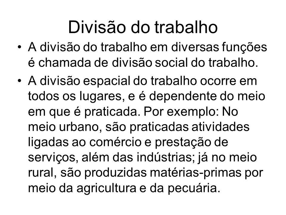 Divisão do trabalho A divisão do trabalho em diversas funções é chamada de divisão social do trabalho.