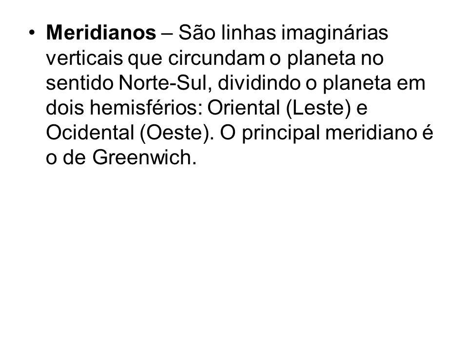 Meridianos – São linhas imaginárias verticais que circundam o planeta no sentido Norte-Sul, dividindo o planeta em dois hemisférios: Oriental (Leste) e Ocidental (Oeste).