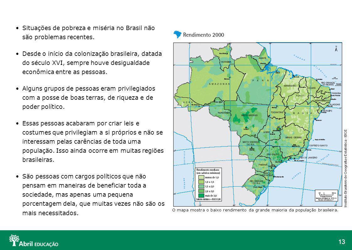 Situações de pobreza e miséria no Brasil não são problemas recentes.