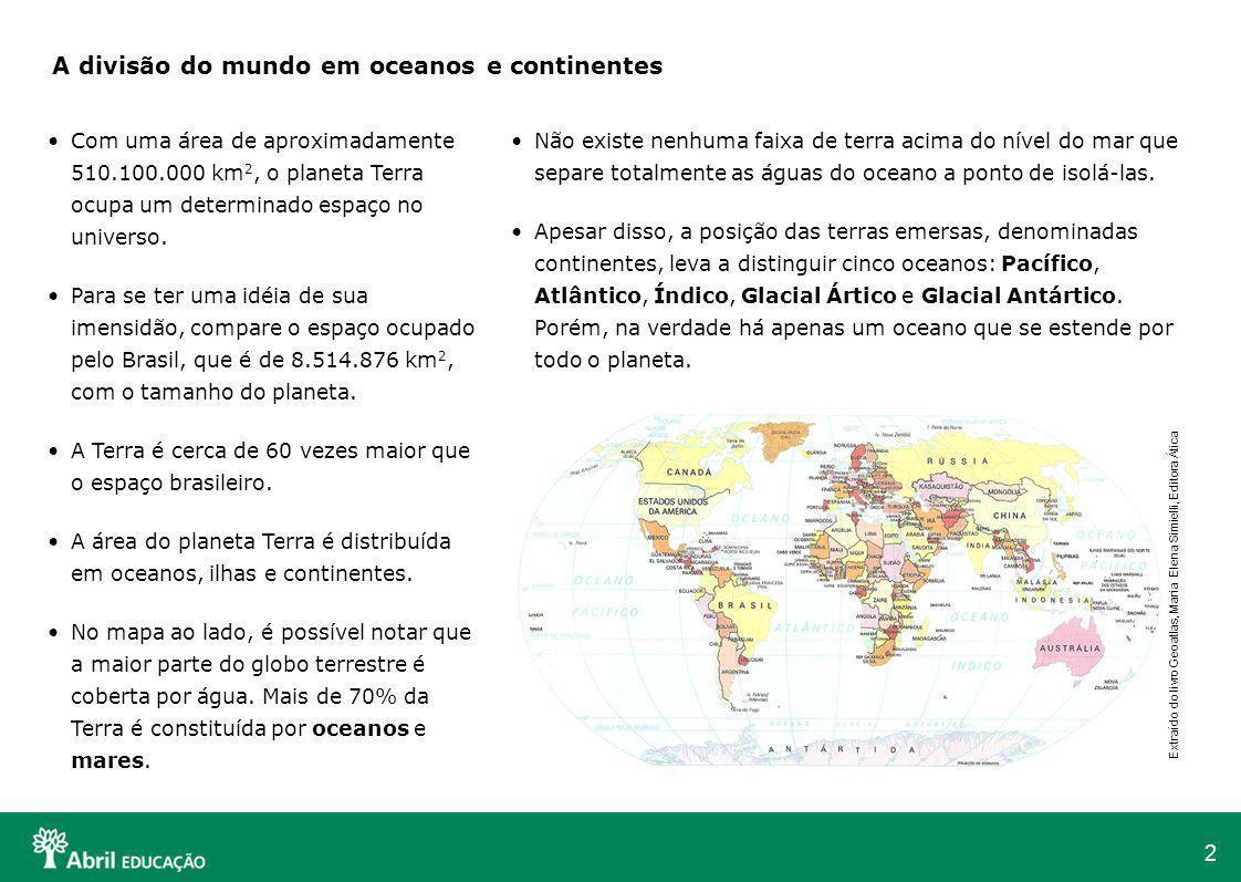 A divisão do mundo em oceanos e continentes