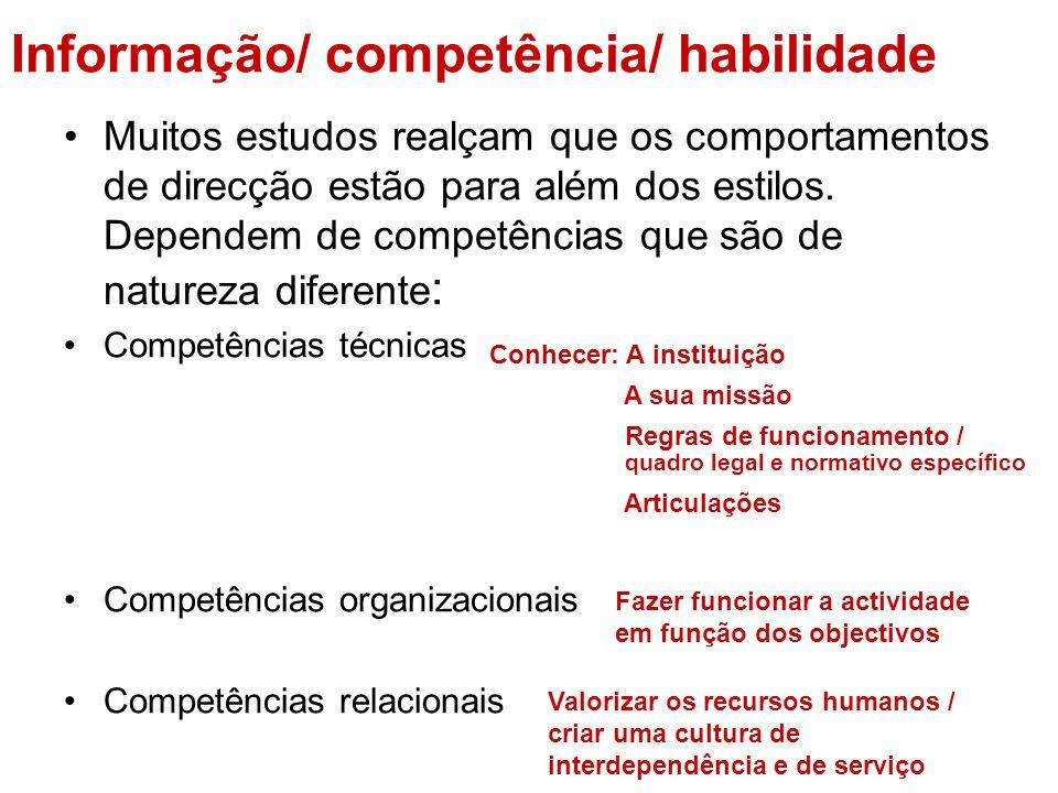 Informação/ competência/ habilidade