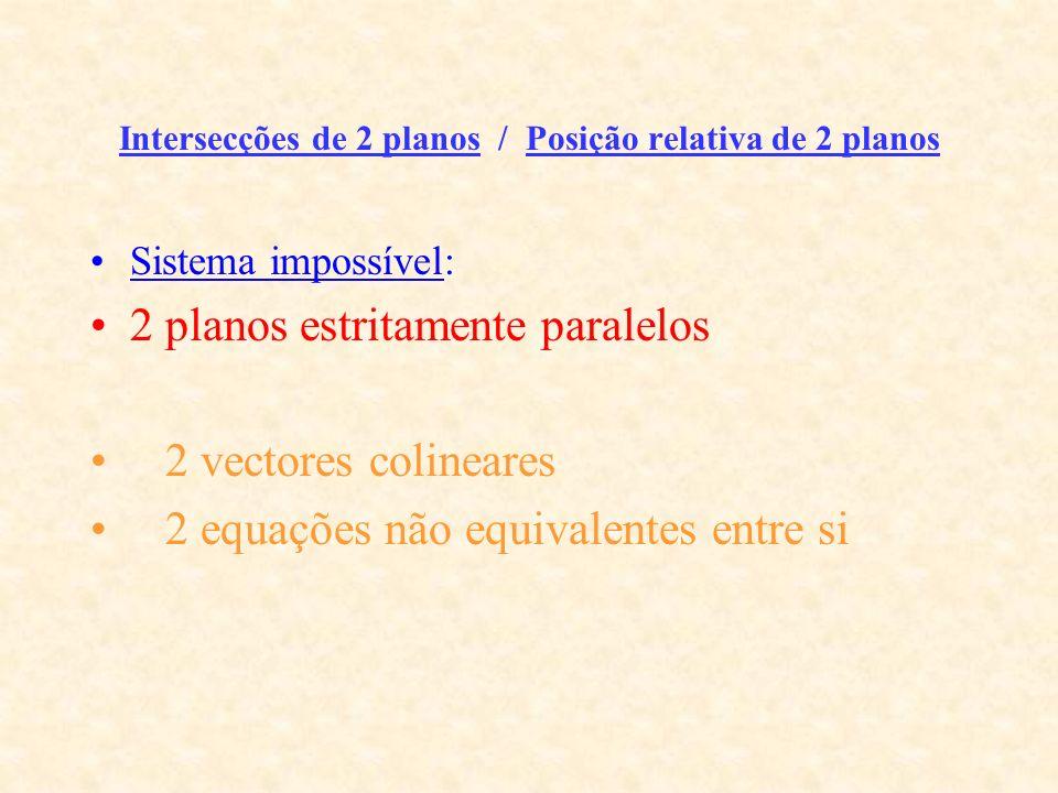 Intersecções de 2 planos / Posição relativa de 2 planos