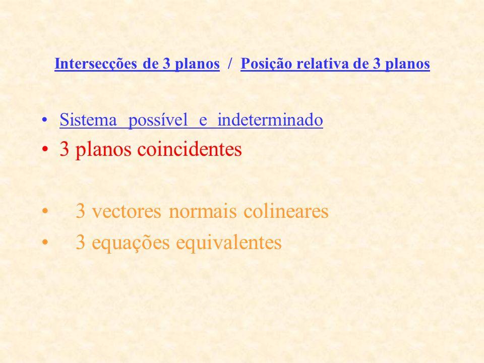 Intersecções de 3 planos / Posição relativa de 3 planos