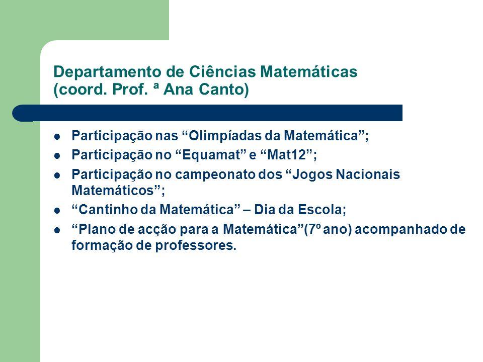 Departamento de Ciências Matemáticas (coord. Prof. ª Ana Canto)