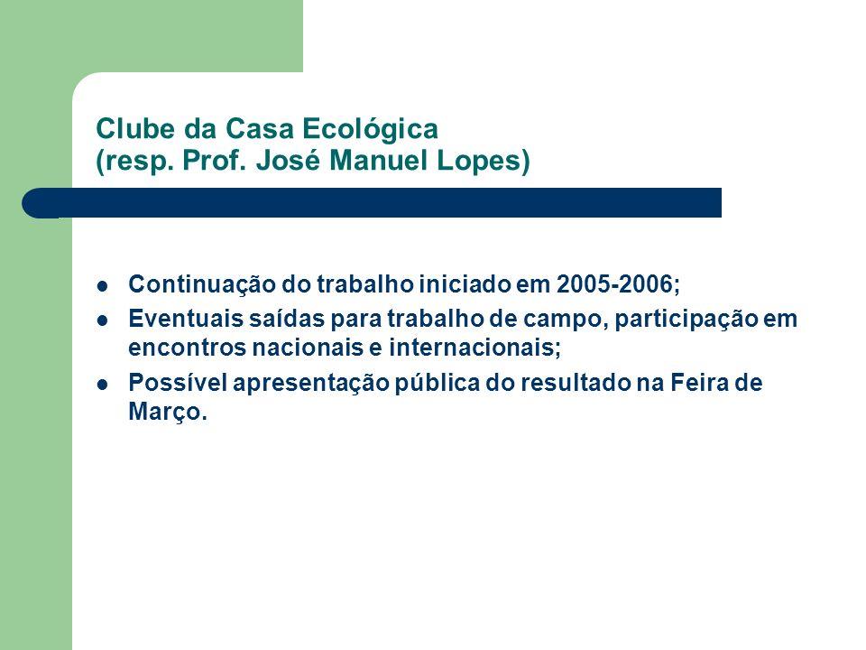 Clube da Casa Ecológica (resp. Prof. José Manuel Lopes)