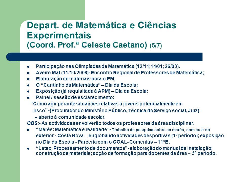Depart. de Matemática e Ciências Experimentais (Coord. Prof