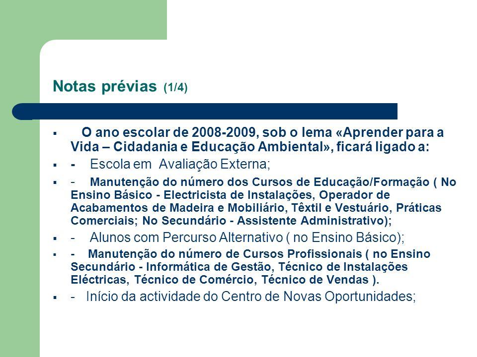 Notas prévias (1/4) O ano escolar de 2008-2009, sob o lema «Aprender para a Vida – Cidadania e Educação Ambiental», ficará ligado a: