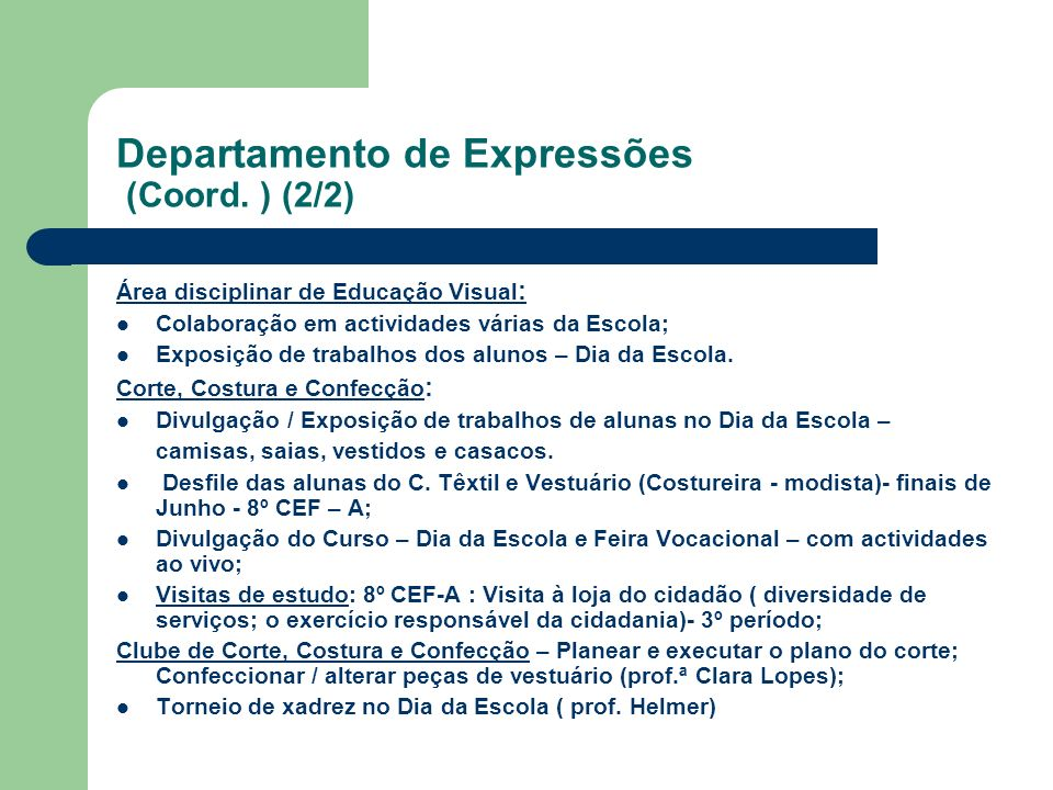 Departamento de Expressões (Coord. ) (2/2)
