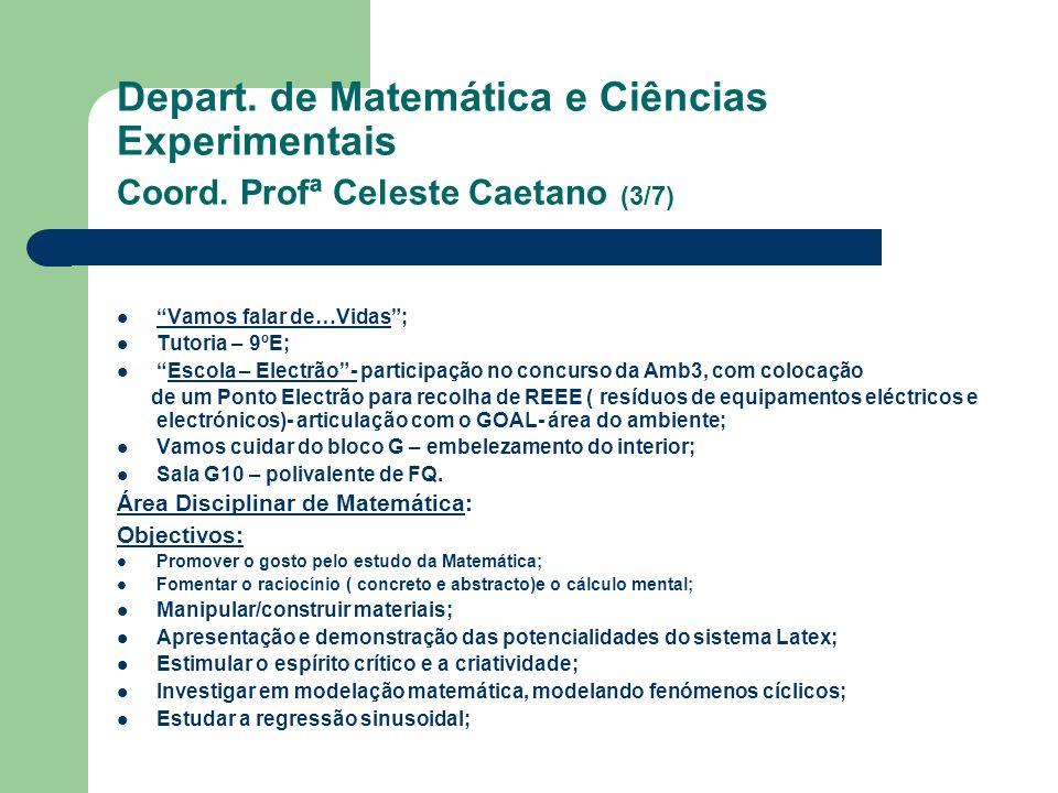 Depart. de Matemática e Ciências Experimentais Coord