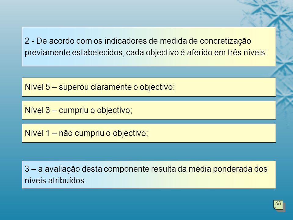 2 - De acordo com os indicadores de medida de concretização previamente estabelecidos, cada objectivo é aferido em três níveis: