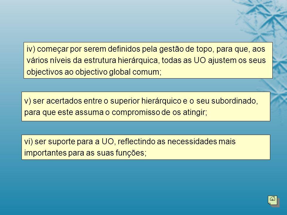 iv) começar por serem definidos pela gestão de topo, para que, aos vários níveis da estrutura hierárquica, todas as UO ajustem os seus objectivos ao objectivo global comum;