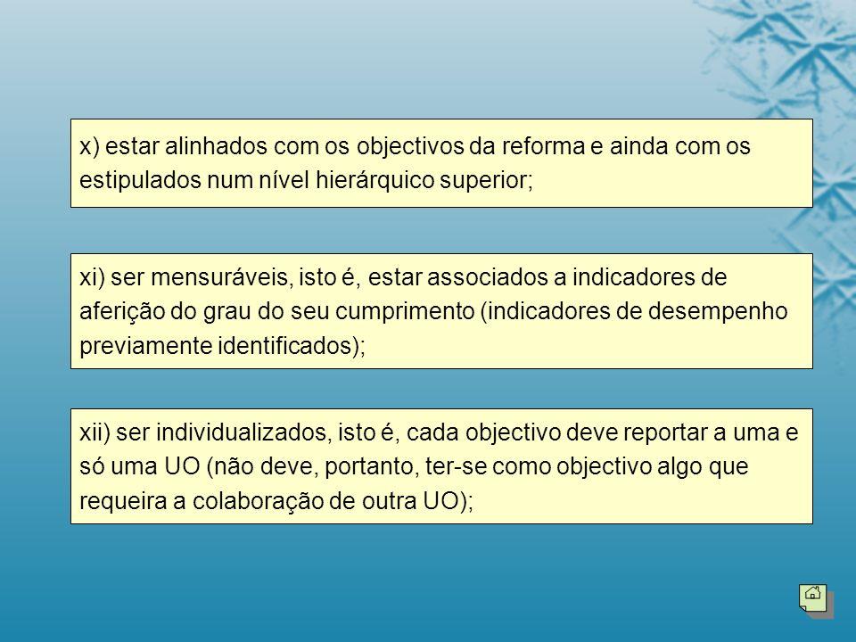 x) estar alinhados com os objectivos da reforma e ainda com os estipulados num nível hierárquico superior;