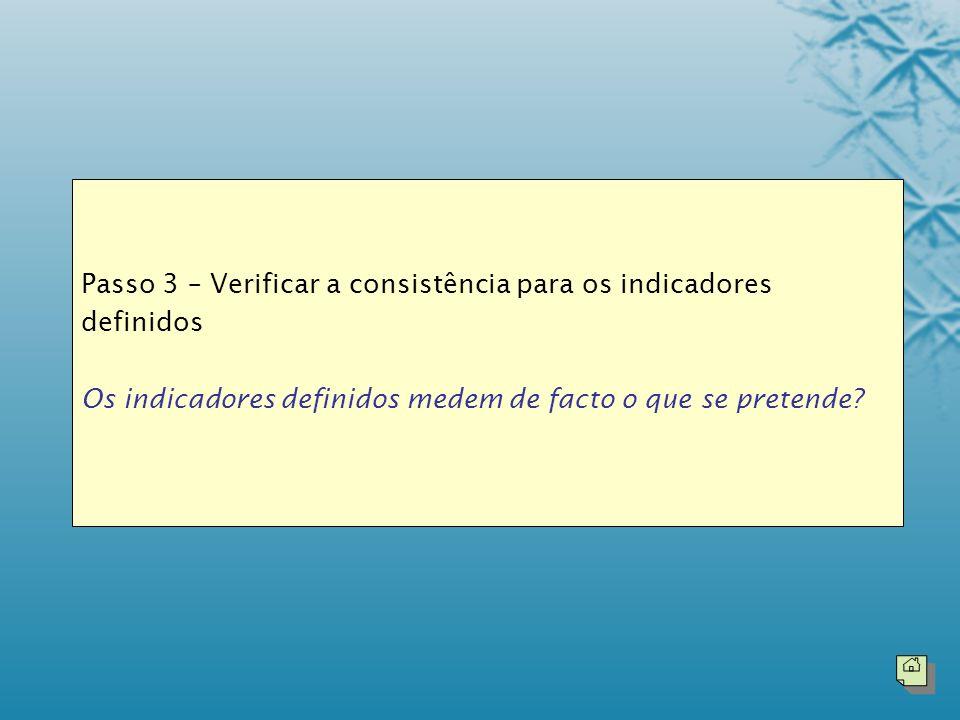 Passo 3 – Verificar a consistência para os indicadores definidos