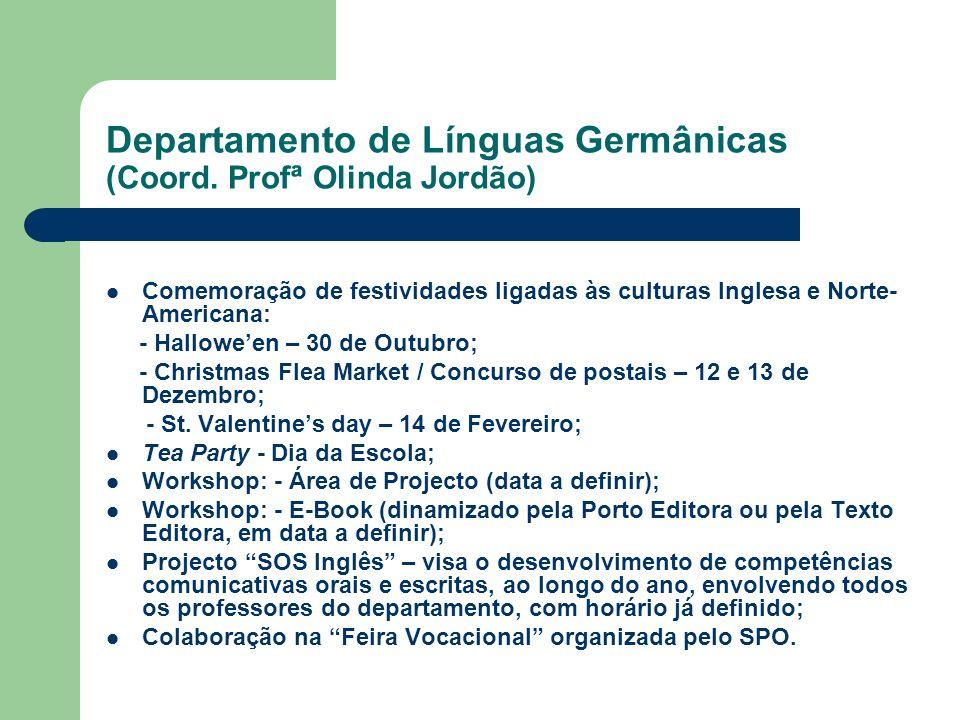 Departamento de Línguas Germânicas (Coord. Profª Olinda Jordão)