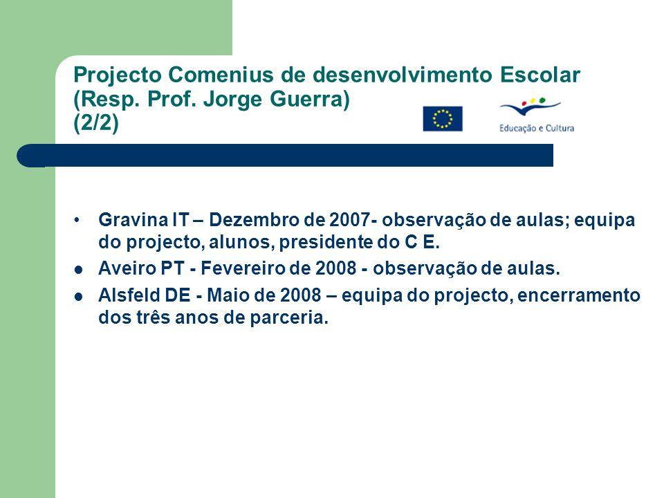 Projecto Comenius de desenvolvimento Escolar (Resp. Prof