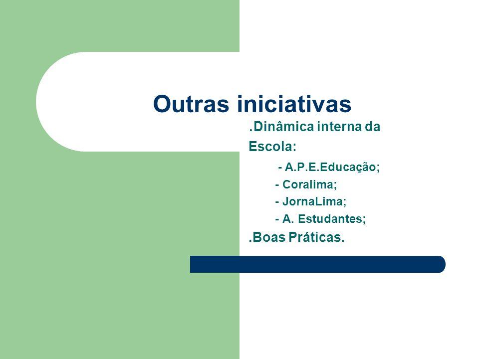 Outras iniciativas .Dinâmica interna da Escola: - A.P.E.Educação;