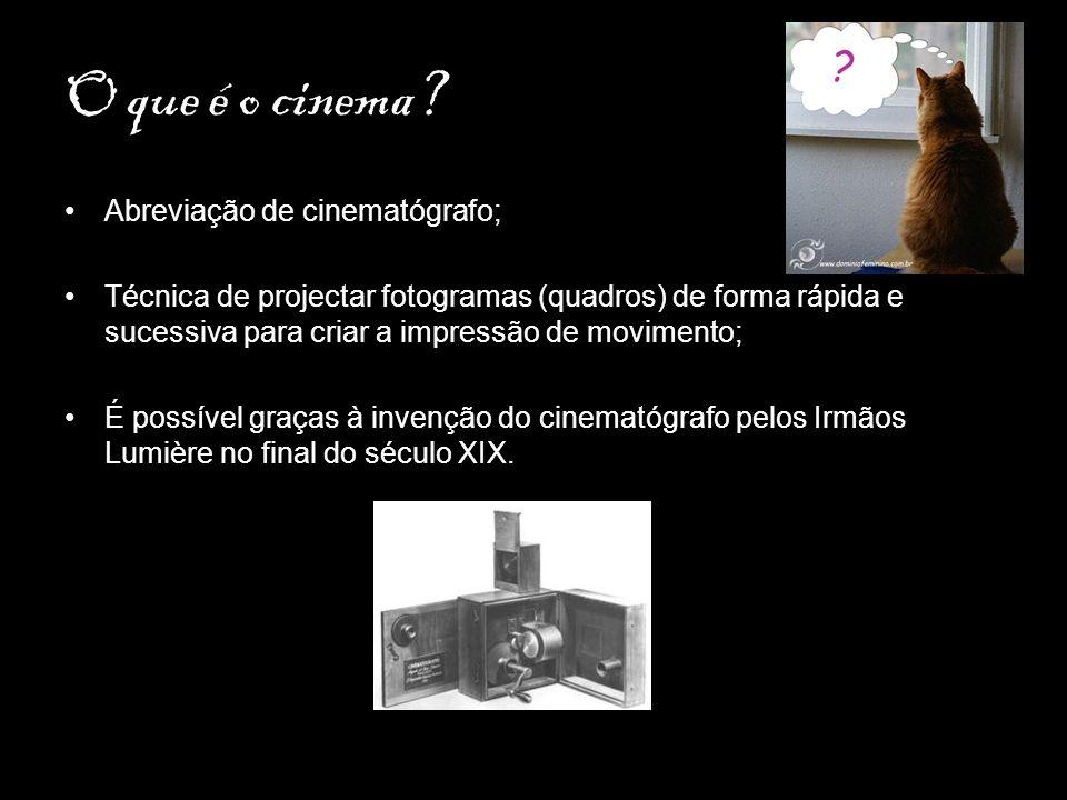 O que é o cinema Abreviação de cinematógrafo;