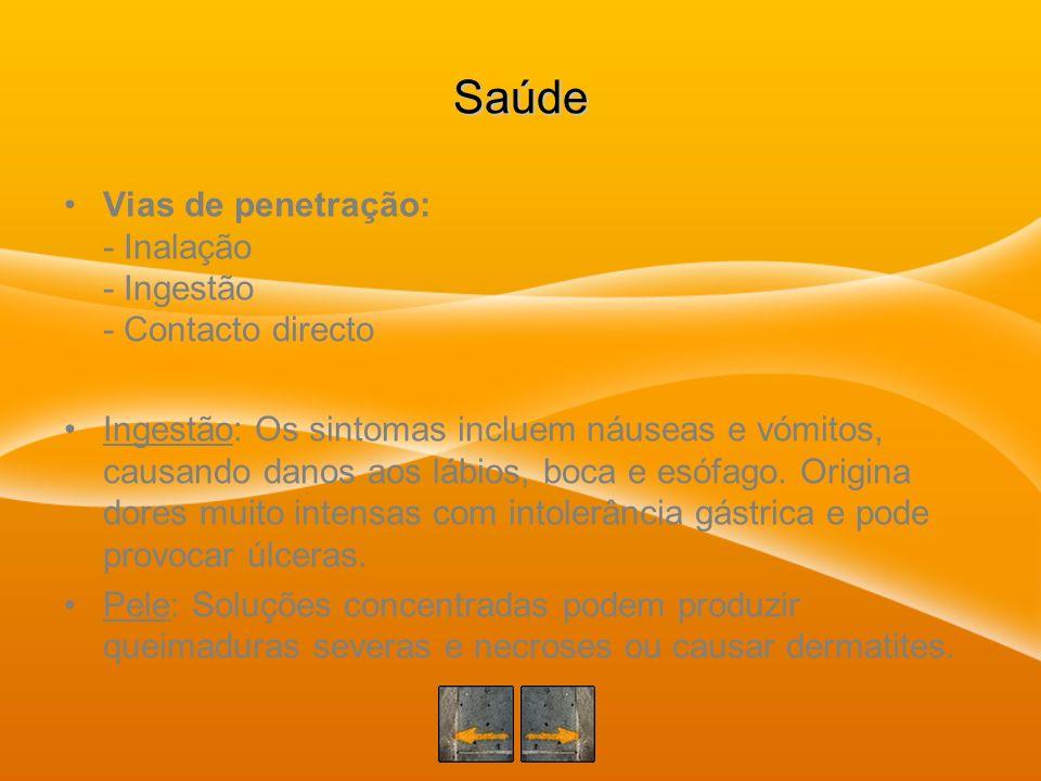 Saúde Vias de penetração: - Inalação - Ingestão - Contacto directo