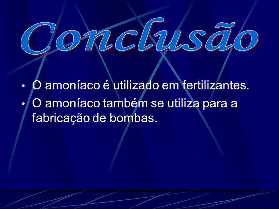 Conclusão O amoníaco é utilizado em fertilizantes.