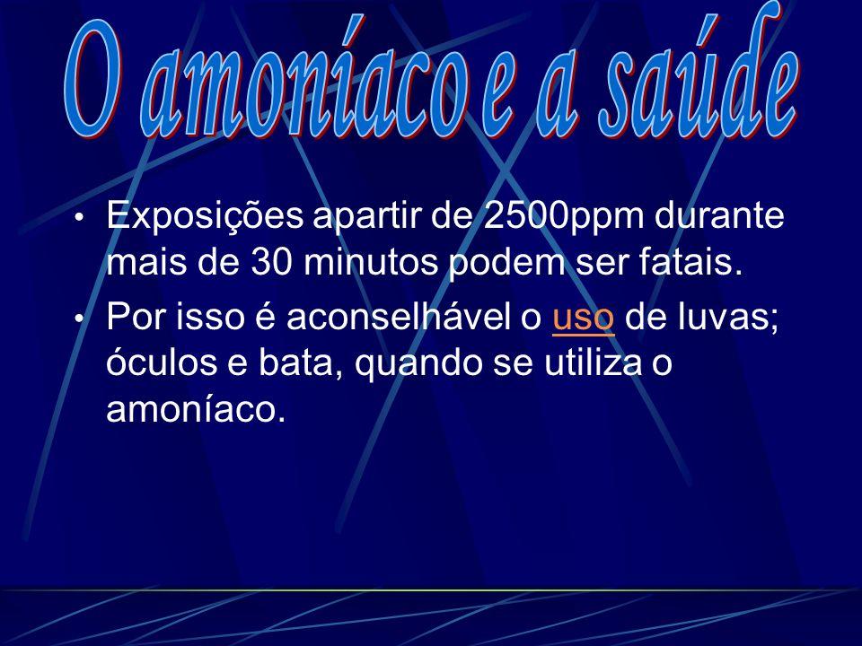 O amoníaco e a saúde Exposições apartir de 2500ppm durante mais de 30 minutos podem ser fatais.
