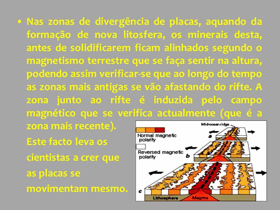 Nas zonas de divergência de placas, aquando da formação de nova litosfera, os minerais desta, antes de solidificarem ficam alinhados segundo o magnetismo terrestre que se faça sentir na altura, podendo assim verificar-se que ao longo do tempo as zonas mais antigas se vão afastando do rifte. A zona junto ao rifte é induzida pelo campo magnético que se verifica actualmente (que é a zona mais recente).