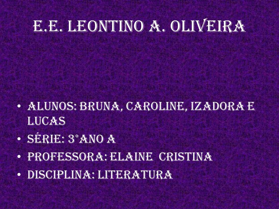 E.E. Leontino A. Oliveira ALUNOS: Bruna, Caroline, Izadora e Lucas
