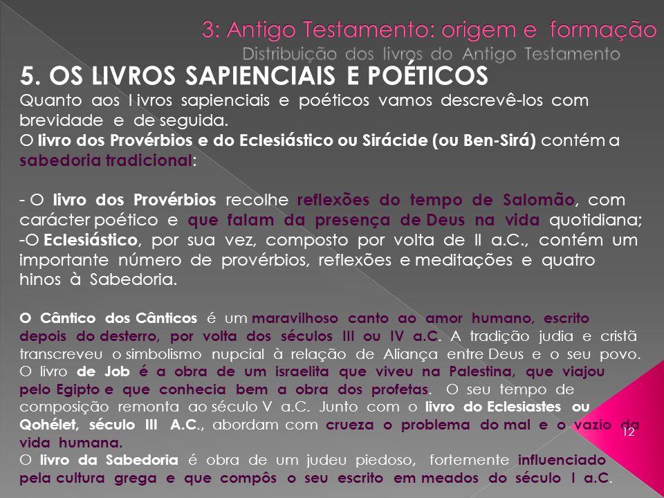 5. OS LIVROS SAPIENCIAIS E POÉTICOS