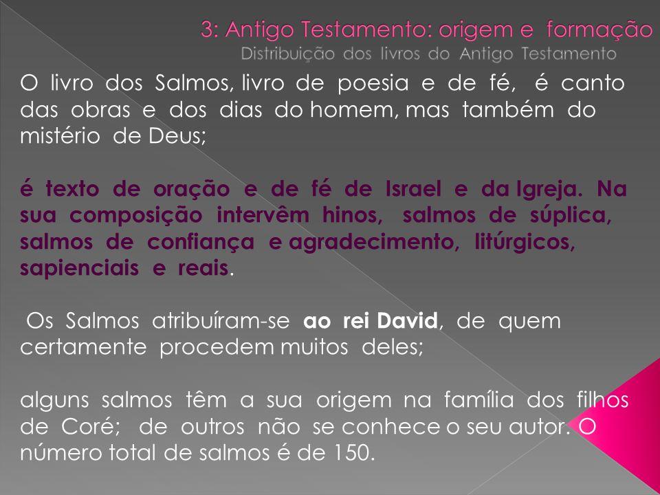 O livro dos Salmos, livro de poesia e de fé, é canto das obras e dos dias do homem, mas também do mistério de Deus;