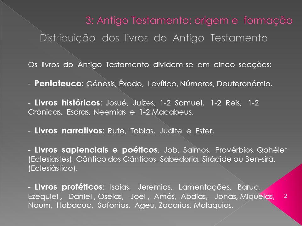 Os livros do Antigo Testamento dividem-se em cinco secções: