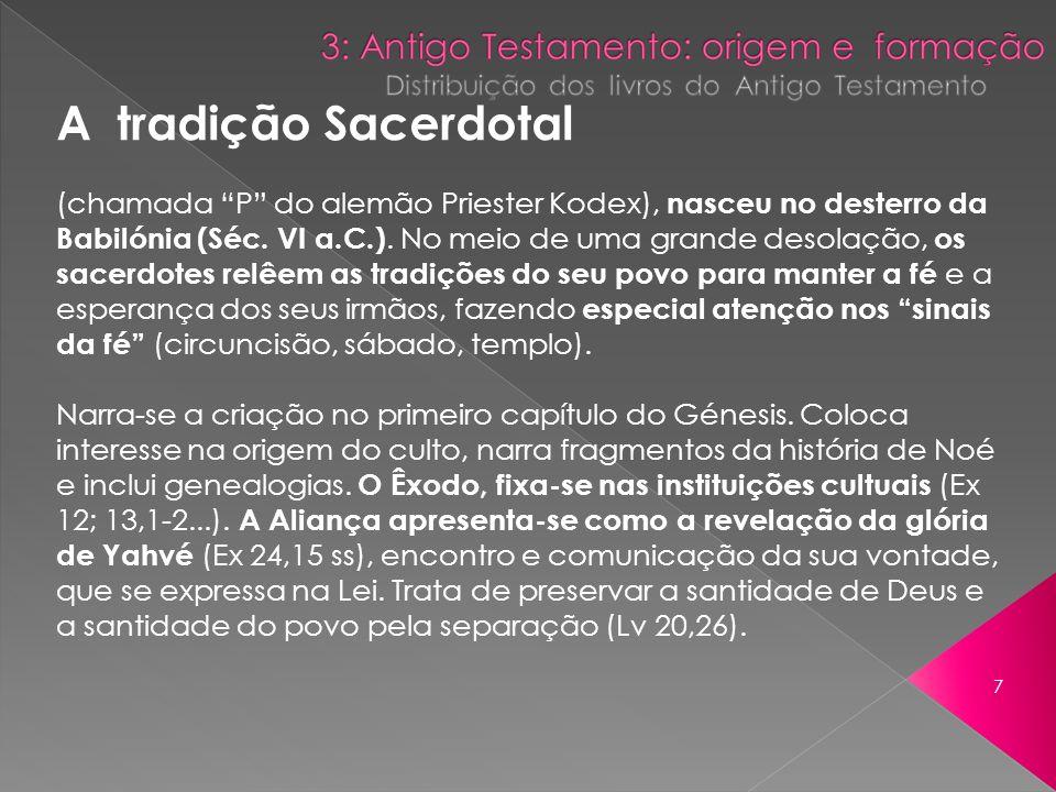 A tradição Sacerdotal (chamada P do alemão Priester Kodex), nasceu no desterro da.